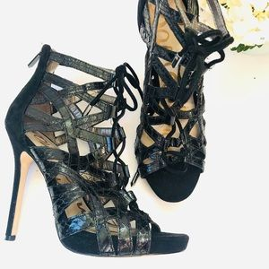 Sam Edelman Essex Black Snakeskin Lace up Heels